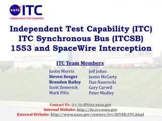 Independent Test Capability (ITC) ITC Synchronous Bus (ITCSB) 1553 and SpaceWire Interception