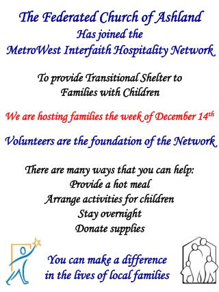 The Federated Church of Ashland Has joined the MetroWest Interfaith Hospitality Network
