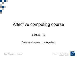 Affective computing course