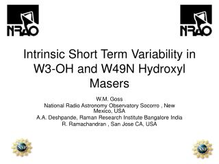 Intrinsic Short Term Variability in W3-OH and W49N Hydroxyl Masers