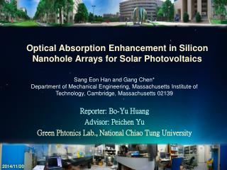 Optical Absorption Enhancement in Silicon Nanohole Arrays for Solar Photovoltaics
