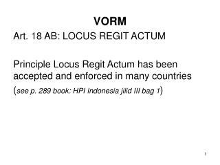 VORM Art. 18 AB: LOCUS REGIT ACTUM