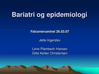 Bariatri og epidemiologi
