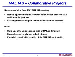 MAE IAB � Collaborative Projects