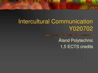 Intercultural Communication Y020702
