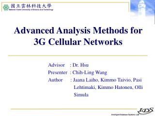 Advanced Analysis Methods for 3G Cellular Networks
