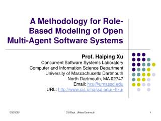 A Methodology for Role-Based Modeling of Open  Multi-Agent Software Systems