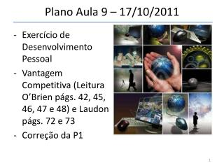 Plano Aula 9 – 17/10/2011