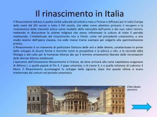 Il rinascimento in Italia