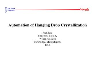 Automation of Hanging Drop Crystallization Joel Bard Structural Biology Wyeth Research
