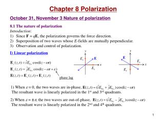 Chapter 8 Polarization October 31, November 3 Nature of polarization