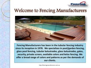 Fencing Manufacturers in Sydney