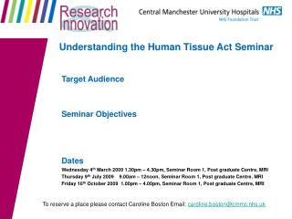 Understanding the Human Tissue Act Seminar