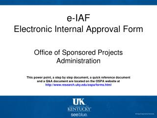 e-IAF Electronic Internal Approval Form
