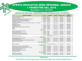 OFERTA EDUCATIVA SENA REGIONAL ARAUCA I TRIMESTRE DEL 2015 Noviembre 6 y 7 del 2014