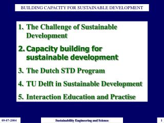 BUILDING CAPACITY FOR SUSTAINABLE DEVELOPMENT