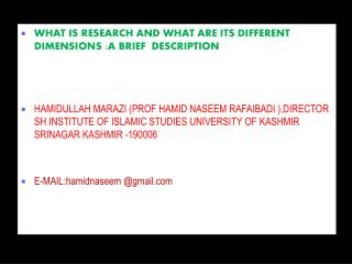 WHAT IS RESEARCH AND WHAT ARE ITS DIFFERENT DIMENSIONS :A BRIEF  DESCRIPTION