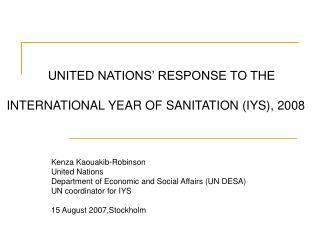 Kenza Kaouakib-Robinson United Nations  Department of Economic and Social Affairs (UN DESA)