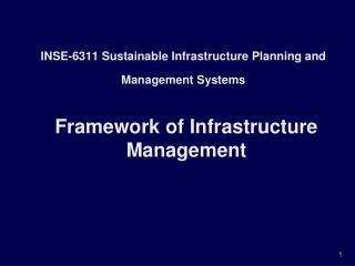 INSE-6311 Sustainable Infrastructure Planning and Management Systems