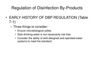 Regulation of Disinfection By-Products