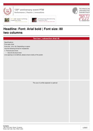 Headline: Font: Arial bold | Font size: 80 two columns
