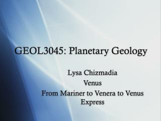 GEOL3045: Planetary Geology