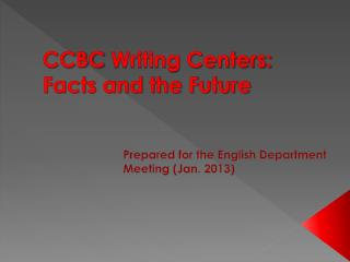 CCBC  Writing Centers: Facts and the Future