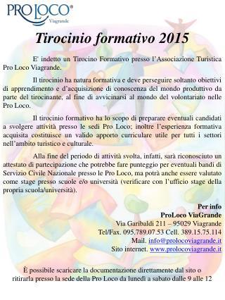 Tirocinio formativo 2015