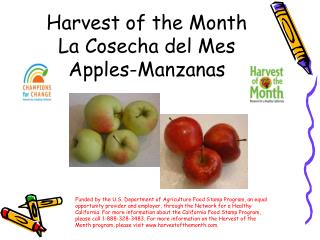 Harvest of the Month La Cosecha del Mes Apples-Manzanas