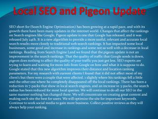 Local SEO and Pigeon Update