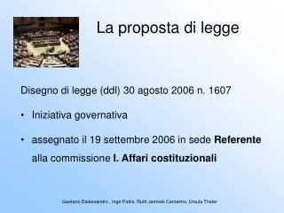 La proposta di legge