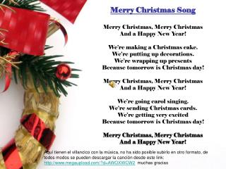 Merry Christmas Song Merry Christmas, Merry Christmas And a Happy New Year!