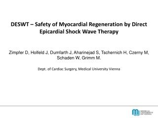 DESWT � Safety of Myocardial Regeneration by Direct Epicardial Shock Wave Therapy