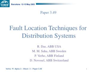 Fault Location  Techniques for Distribution  Systems