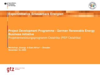 Project Development Programme - German Renewable Energy Business Initiative