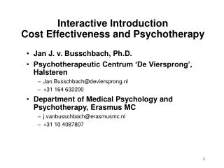 Interactive Introduction  Cost Effectiveness and Psychotherapy