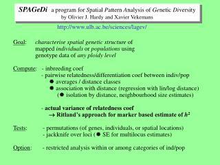 SPAGeDi a program for  S patial  P attern  A nalysis of  Ge netic  Di versity