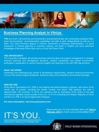 Business Planning Analyst in Vilnius