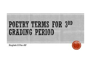 Poetry Terms for 3 rd  Grading  Period