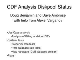 CDF Analysis Diskpool Status