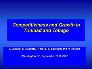Competitiviness and Growth in Trinidad and Tobago