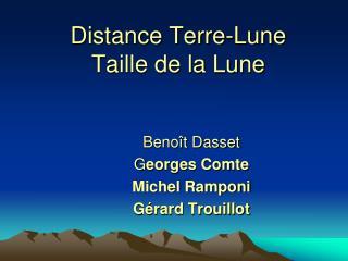 Distance Terre-Lune  Taille de la Lune