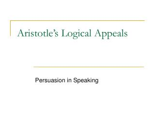 Aristotle's Logical Appeals