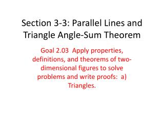 Section 3-3: Parallel Lines and Triangle Angle-Sum Theorem
