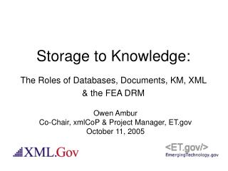 Storage to Knowledge: