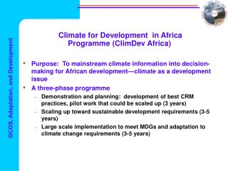 Climate for Development  in Africa Programme (ClimDev Africa)
