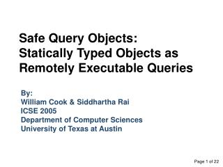 Safe Query Objects: Statically Typed Objects as Remotely Executable Queries