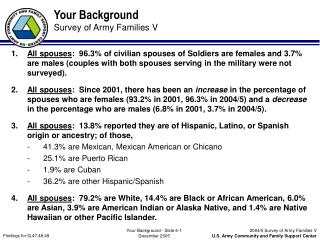 Your Background Survey of Army Families V