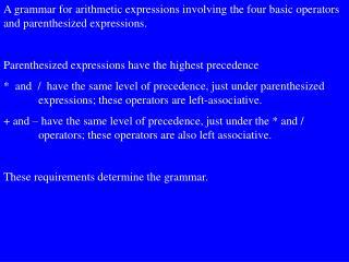 The productions for this grammar are: <E>     <E>  +  <T>  |  <E> -  <T>  |  <T>