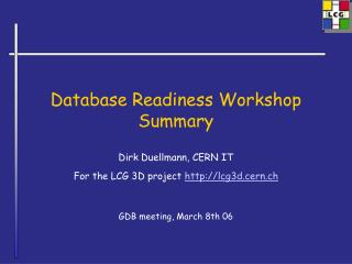 Database Readiness Workshop Summary